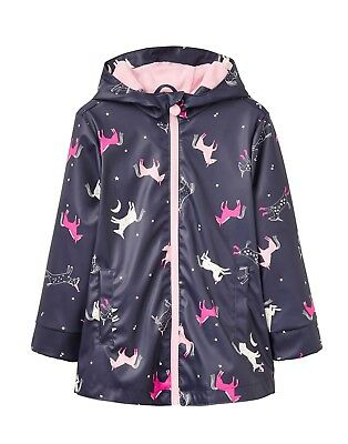 New! Joules Waterproof Girls Rubber Rain Dance Navy Unicorn Horse Print 3 years