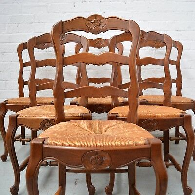 8 French Louis style decorative walnut high back rush seated dining chairs