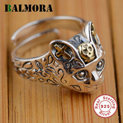 BALMORA 100% Real 925 Sterling Silver Jewelry Retro Cat Finger Rings for Wome...