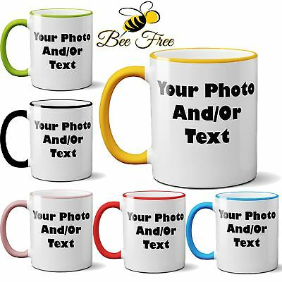 Personalised Coloured Rim & Handle Mug Custom Print Birthday Photo Text Picture