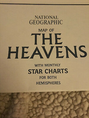 Vintage Insert National Geographic Magazine Map the Heavens Monthly Star Charts