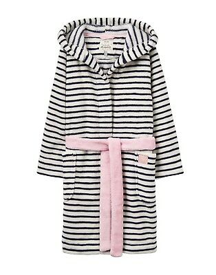 New! Joules Girls Jnr Teddy Novelty Dressing Gown Navy Stripe w/ Ears 5-12 yrs