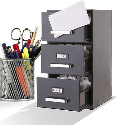 File Mini Cabinet 3 Drawer Storage Document Holder Organizer Box Business Office