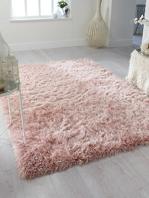 Dazzle Sparkle Sparkly Blush Soft Pink Silky Thick Long Pile Glamour Shaggy Rug