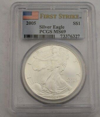 United States 2005 Silver Eagle Pcgs Ms 69 First Strike  $ 1 Dollar Coin