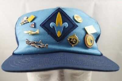 Boy Cub Scout Webelos Hat Blue 8 Activity Pins Vintage USA Made Cap, Snapback