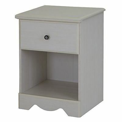 South Shore Furniture Country Poetry 1-Drawer Night Stand, White Wash