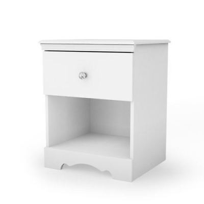 South Shore Furniture 3550062 Crystal 1-Drawer Nightstand, Pure White