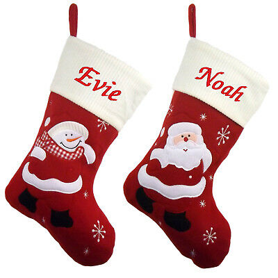 Personalised Embroidered Xmas Stocking Luxury Ivory Sack Santa Deluxe Christmas