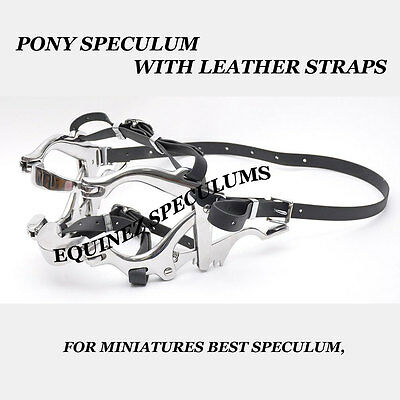 Equine Pony Dental Speculum Horse Mouth Gag Stainless Steel Leather, Forged