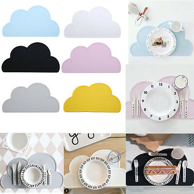Kids Children Silicone Cloud Shaped Kitchen Placemat Pad Dining Table Mat MN