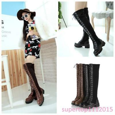 Womens Round Toe Over Knee Thigh Boots punk Lace Up Gothic Combat Riding Shoe