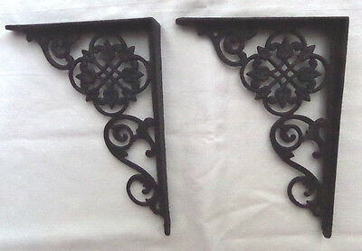 Antique Cast Iron Architectural Shelf Brackets  Flowers  Set of Two