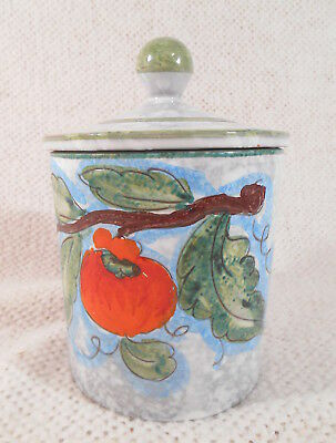 """6 1/2"""" Gray Green & Red Lidded Ceramic Jar Made in Italy -  Tomato / Leaf Theme"""