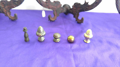 Vintage set of 5 lamp finials brass, red glass, amber glass die cast