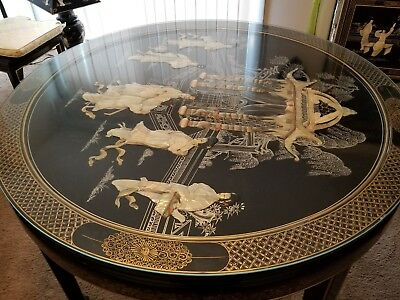 Vintage Oriental Mother Of Pearl Kitchen Table Black Lacquer