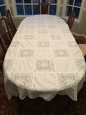 Simply Stunning! GRAND Handmade Banquet Large Tablecloth Army Navy Pattern