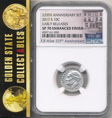 2017 S .10 Dime From  225Th Anniversary Enhanced Set Ngc Sp70  Early Releases