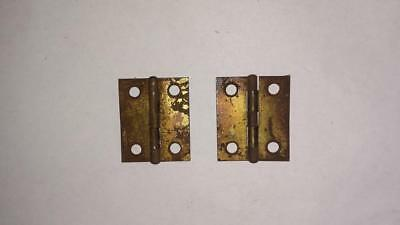 Pair Small Hinges Vintage Hardware Toolbox Chest Metal Hardware         #120