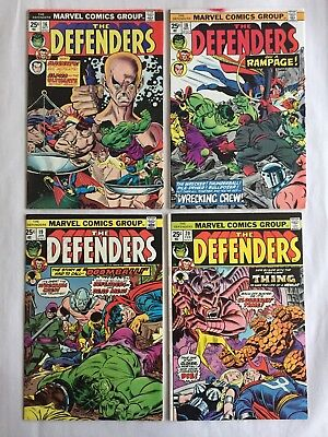 "Defenders Lot #16-18-19-20 (Marvel 1974) Hulk, Dr Strange, ""1st Wrecking Crew"""