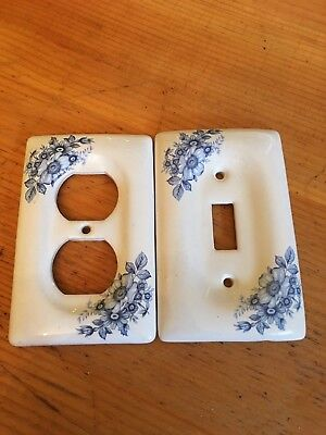 Set of Vintage Cottage Decor Light Switch Plug Plate Cover - Blue Floral Ceramic