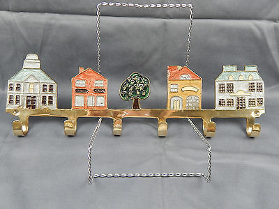 Penco Industries 1987 Solid Brass Wall Mount 6 Hook Coat Rack Enameled Houses