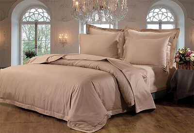 Hotel Quality Pure Cotton 1000TC Queen Size Quilt Cover Set -MOCHA NEW