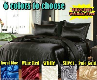 Hotel Quality Silk/Satin Queen or King Size Bed Sheet Set -6 colour to choose