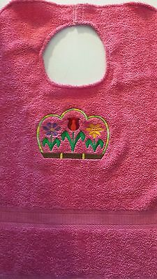 Adult Bib  Clothing Protector  Hot Pink with Flowers