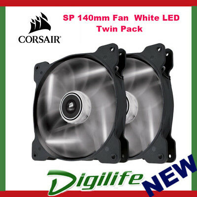 Corsair Air Series 140mm PC Fan High Static Pressure - SP140 White LED Twin Pack