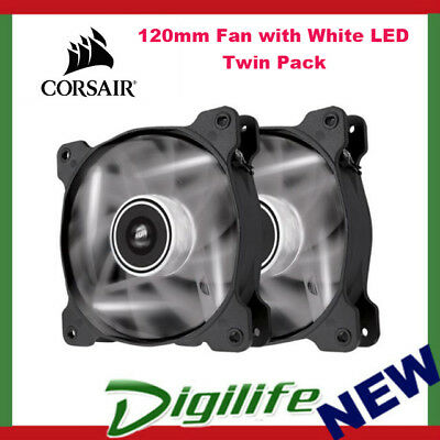 Corsair Air Series SP120 White LED 120mm High Static Pressure Fan - Twin Pack