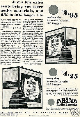 """1928 Print Ad of Eveready Radio Batteries National Carbon Co """"B"""" Battery"""