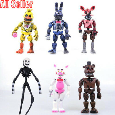 "Five Nights at Freddys Nightmare 5"" Set of 6 Action Figures Gift Collectible MN"