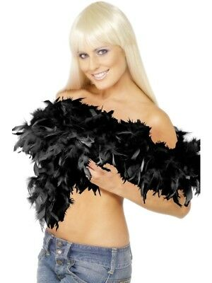 Deluxe Feather Boa Black 180CM Ladies Flapper Fancy Dress Costume Accessory