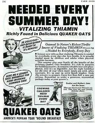 1939 Print Ad of Quick Quaker & Mother's Oats Year Round Breakfast