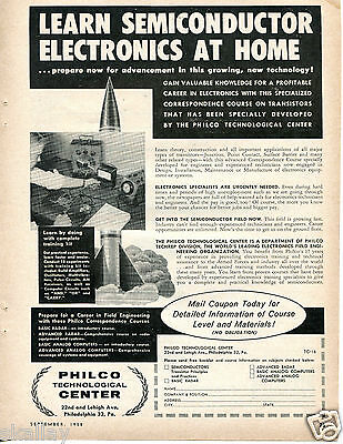 1958 Print Ad Philco Technological Center Learn Semiconductor Electronics @ Home