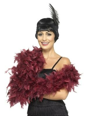 Deluxe Feather Boa Burgundy 180CM Ladies Flapper Fancy Dress Costume Accessory