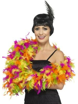 Deluxe Feather Boa Mixed Neon Multi Flapper Ladies Fancy Dress Costume Accessory