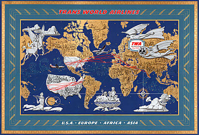 Trans World Airlines 1962 Vintage A1 High Quality Canvas Print
