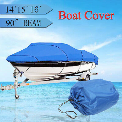 Boat Cover 14-16ft beam-90'' Heavy Duty Trailerable Fish-Ski V-Hull Waterproof