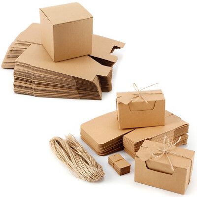 Kraft Paper Candy Wrap Gift Boxes With Burlap Ribbon String Wedding Party Favor