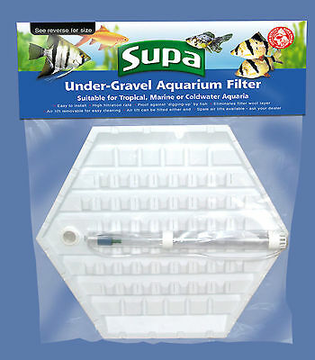 "Aquarium Fish Tank Under Gravel Filter Medium Hexagon 12.5"" x 7"""