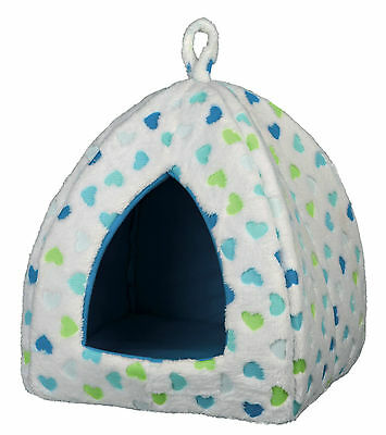 Valentino Cuddly Cave Cat Kitten Comfy Igloo Bed White & Blue with Love Hearts