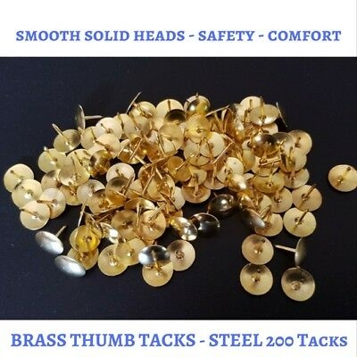 Pack of 200 Brass Thumb Tacks - Drawing Pins - Free Postage