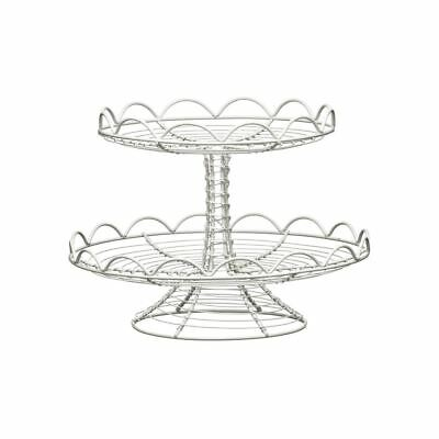 Cake Stand, Cream Wire, 2 Tier