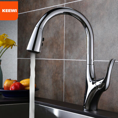 Keewi Kitchen Faucet with Pull Down Sprayer, Single Handle Deck-Mounted Faucet