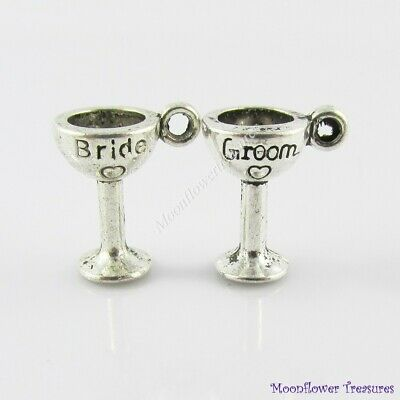 2pce 3D Bride & Groom Champagne Glass Charm Set Select European or Clip on Clasp