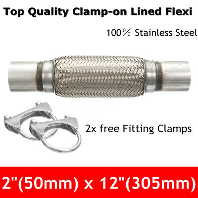 2''x12'' 50x300mm Exhaust Flex Tube Pipe Joint Flexible Clamp Stainless Steel