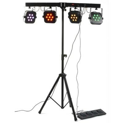 BeamZ PARBAR 4-Way Kit Luci Led 4 Par 7 x 10W Quad LEDs DMX con Borsa Stativo Pe