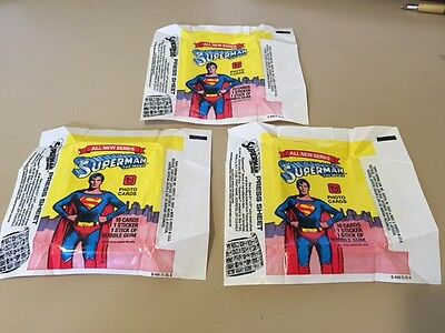 Superman S2 - The Movie - 10x Wax Pack Card Wrapper LOT - 1979 - No Tears !!!